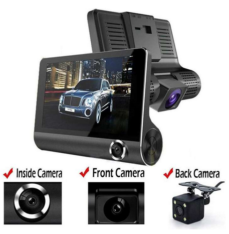 3 Lens Car Dash Cam HD Video Recorder with Front + Interior + Rear Camera