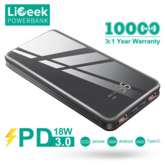 LiGeek 10000mAh PD Power Bank 18W Digital Display USB Type C Portable Charger with Power Delivery and QC3.0 Quick Charge