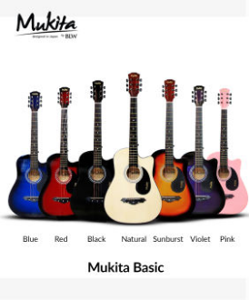 Mukita by BLW Standard Acoustic Folk Cutaway Basic Guitar Package 38 Inch for beginners