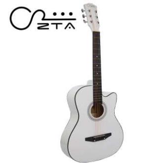 ZTA 38 Inch Acoustic Guitar White Cutaway Starter Pack Folk Guitar Bundle