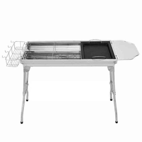 Stainless Steel Portable Folding Charcoal BBQ Grill With Side Board & Basket & Fry Pan