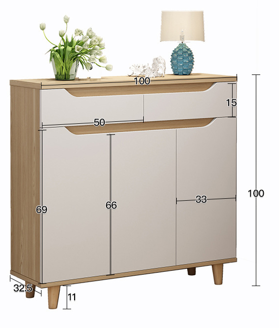 THE Shoes Cabinet Rack Storage Nordic Modern Style (100x33x100cm)