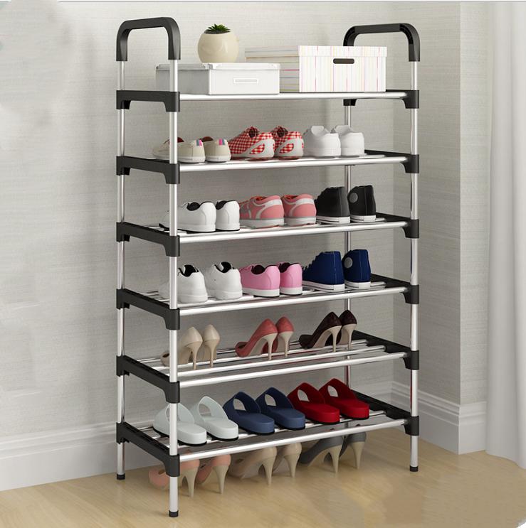 6 Tier Simple Style Adjustable DIY Stainless Steel Shoes Rack