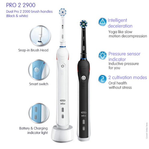 Oral-B Pro 2 2900 Set of 2 CrossAction Electric Rechargeable Toothbrushes